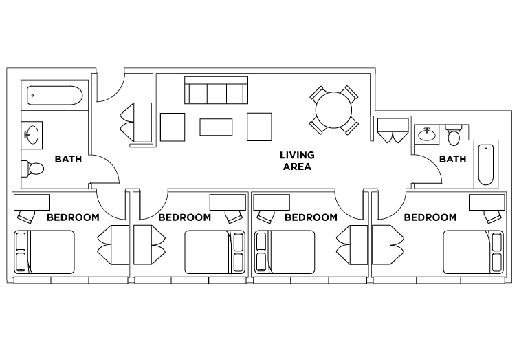 4 Bedroom 2 Bathroom Penthouse Suite Floor plan for Parkside Student Residence