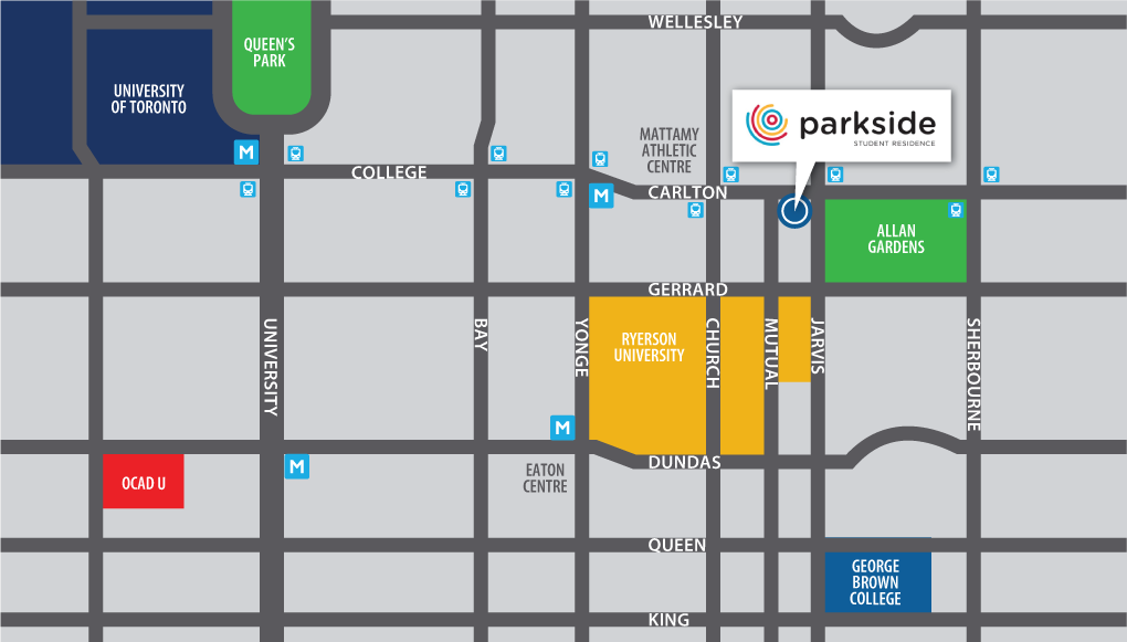 Parkside location map. Student living near Ryerson University in Toronto.